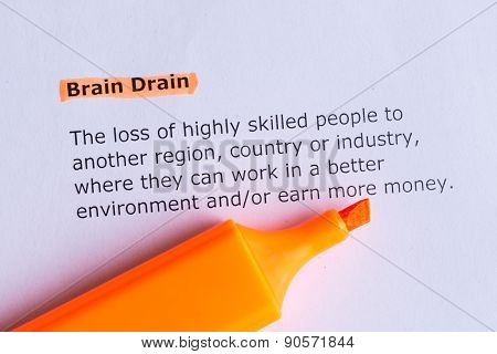 brain drain word highlighted on the white paper poster