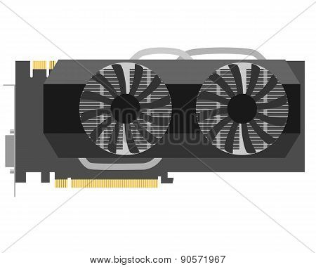 Video card isolated on white background. Vector illustration