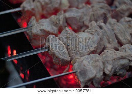 Shashlik (shish Kebab) Grilling On Brazier