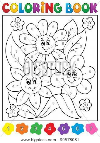 Coloring book with flower theme 9 - eps10 vector illustration.