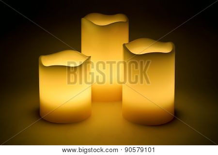 Three Yellow Led Candles
