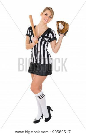 Referee With Baseball Bat And Holding Ball