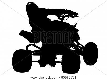 Silhouettes athletes ATV during races on white background