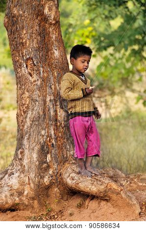 Indian Young Boy Stands Near Tree