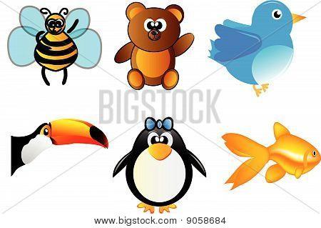 set of animals - bee, bear, bird, toucan, penguin and fish