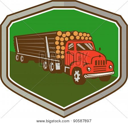 Truck Vintage Logging Shield Retro