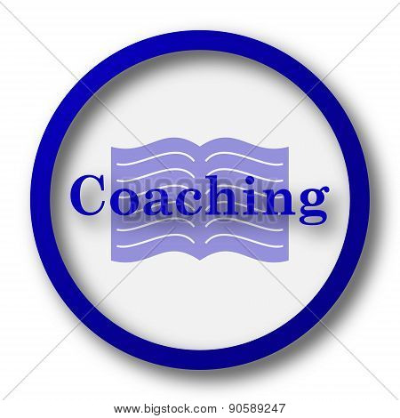 Coaching icon. Blue internet button on white background. poster