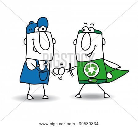 Agreement in the energy transition. An eco-warrior super shake hands with a worker. They find a solution for the energetic  transition of the factory