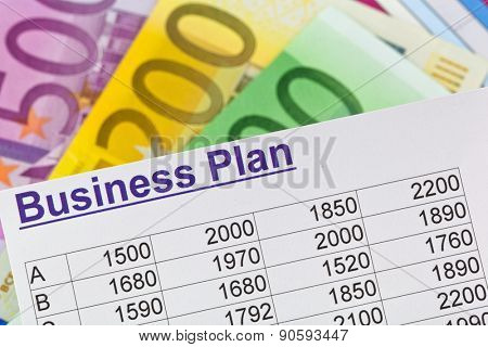 a business plan to start a business. ideas and strategies for business start-up. euro bills.