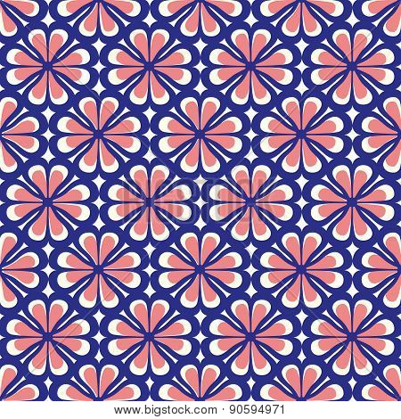Seamless Floral Blue Coral Pattern