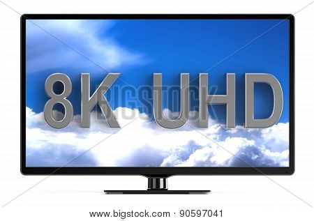 television set with 8K UHD isolated on white background poster