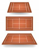 Set of brown tennis courts with perspective. Vector EPS10 illustration. poster