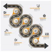 Road And Street Business Travel Curve Route Infographic Diagram Vector Design Template poster