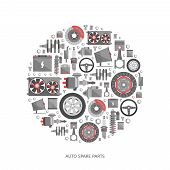 Set of auto spare parts. Car repair icons in flat style. Vector illustration EPS10. poster