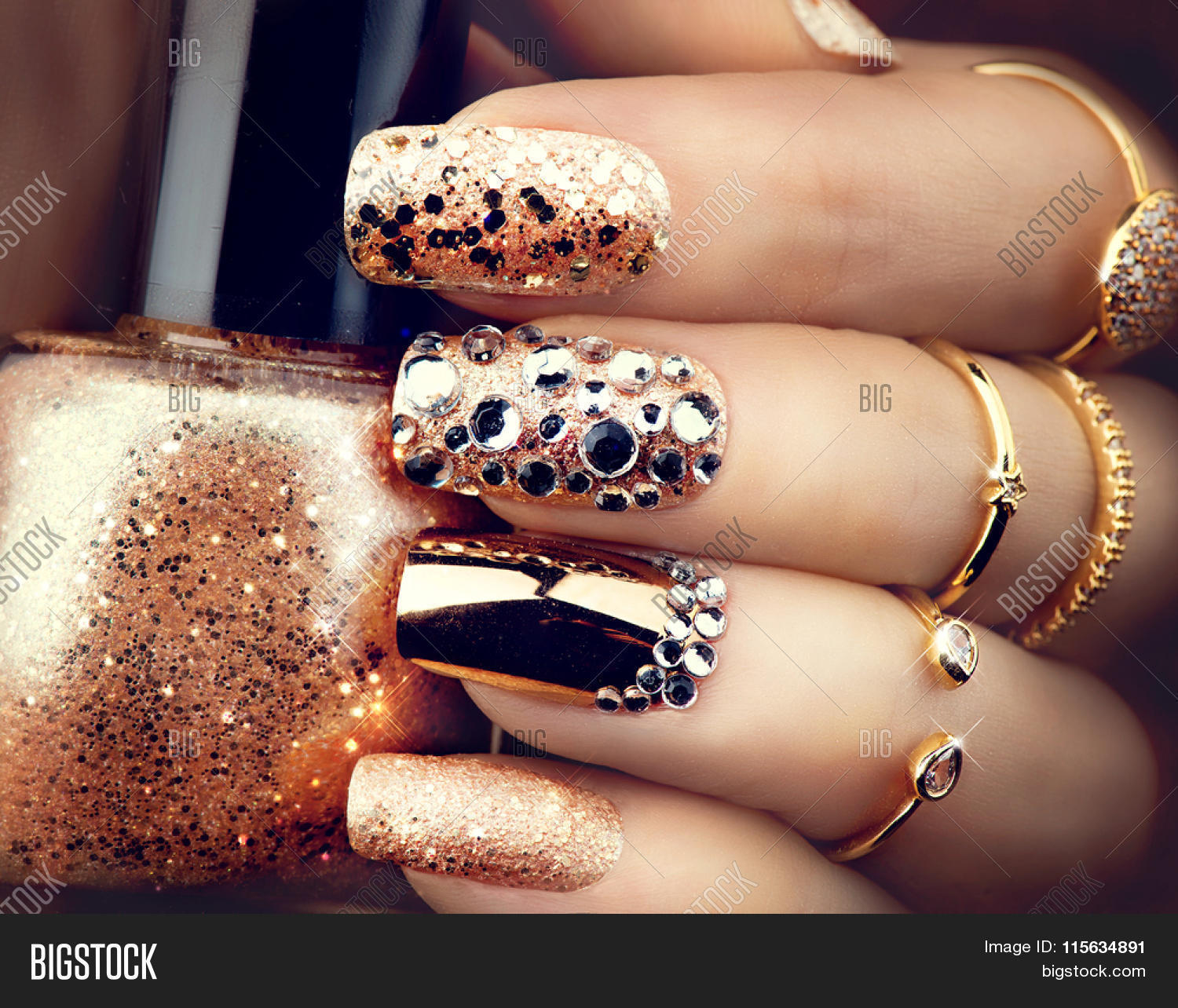 Golden Nail Art Image & Photo (Free Trial) | Bigstock