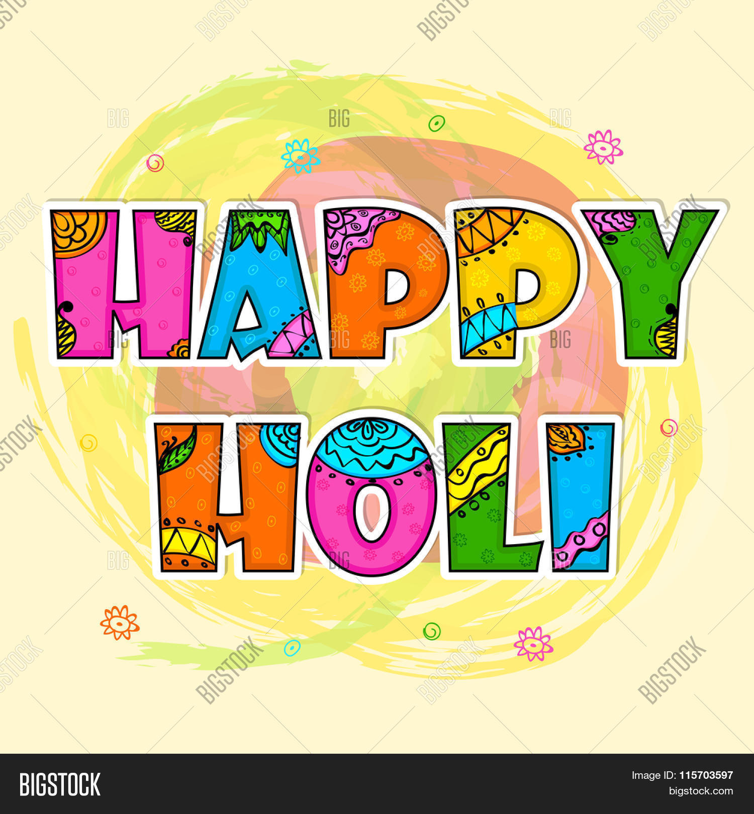 Beautiful Floral Design Decorated Colourful Text Happy Holi On Abstract Background For Indian Festival Of Colours