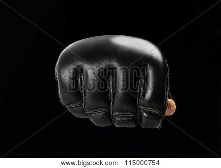 Fist Black  Gloves For Martial Arts , Mma On A Black Background. Logo