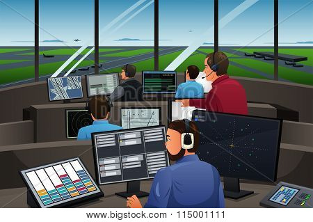 Air Traffic Controller Working In The Airport