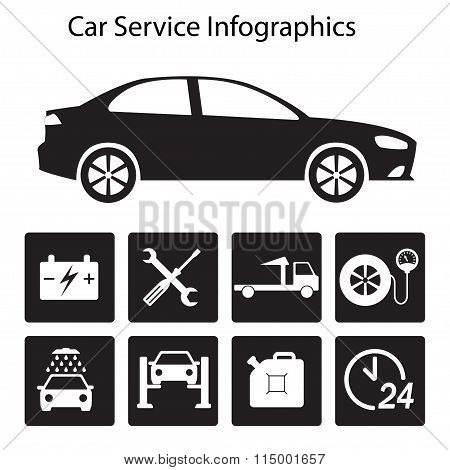 Car service Infographics. Auto service and repair icons isolated on white background. Vector.