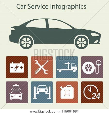 Car service Infographics. Auto service and repair icons. Vector illustration in flat design.
