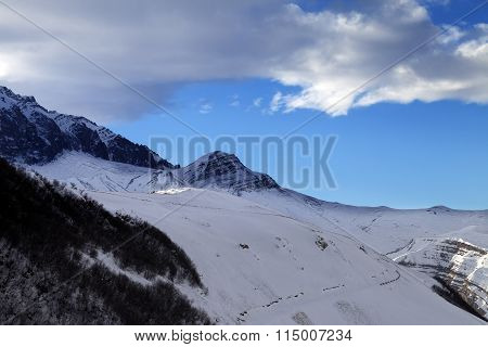 Winter Mountains At Sun Evening