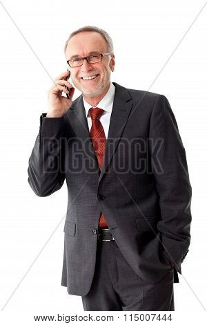 Mature Business Man With Smartphone, Isolated