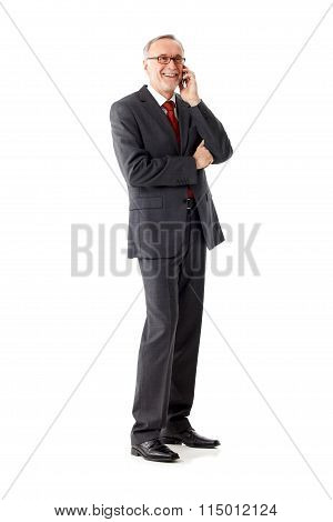 Senior Business Man Isolated, Calling
