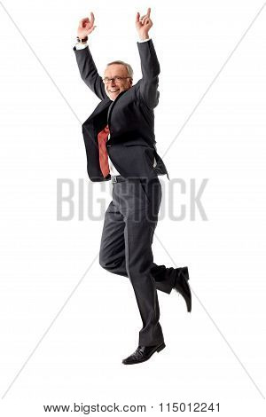Senior Man Jumping On White Background