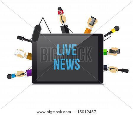 Journalists hands of journalists with microphones