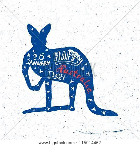Australia Day, a kangaroo with letering