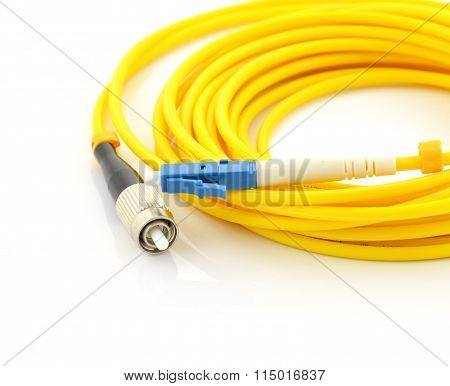 Mode Optical Patch Cord Lc Pair Black With Blue Connectors.