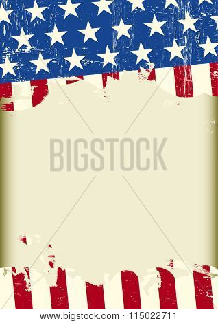 american cool dirty background. A US grunge flag with a frame for your message