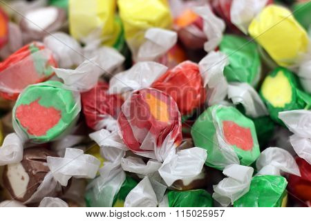colorful and flavored salty water taffy candy