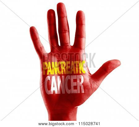 Pancreatic Cancer written on hand isolated on white background