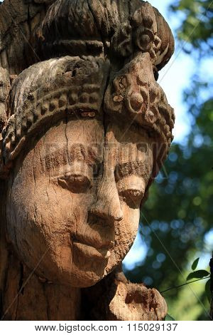 Carved wooden sculpture of the ancient Sanctuary of Truth