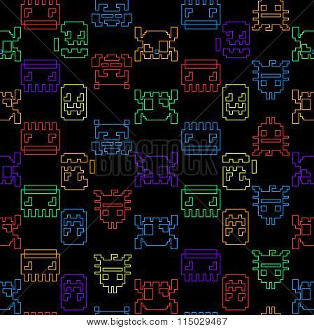 Computer Game Graphic Seamless Pattern On A Black Background