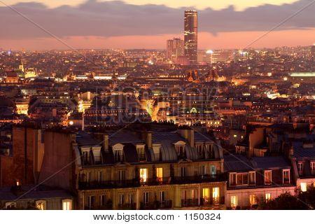 Panorama Of Paris By Night Sacrecoeur View