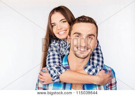 Pretty Young Woman Embracing Her Boyfriend