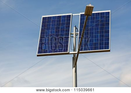 Solar Panels And Lamppost