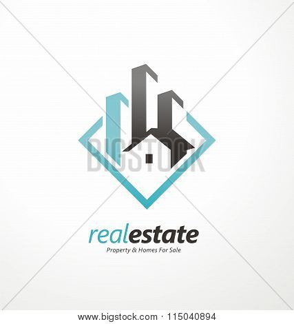 Buildings abstract logo design template