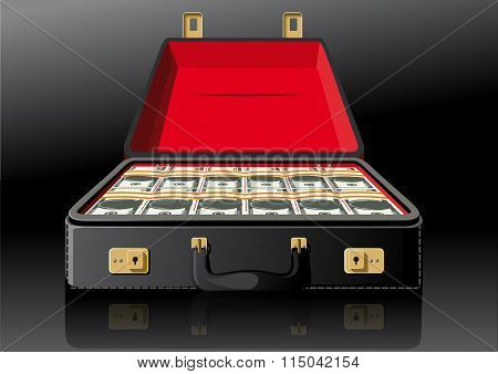 Open suitcase with dollars