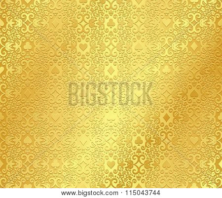 Golden Poker Background With Dark Damask Pattern And Cards Symbols