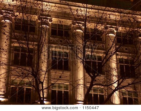Facade Of A Building Decorated With Columns