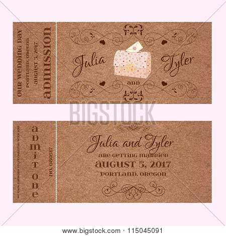 Ticket for Wedding Invitation with wedding chest