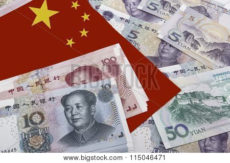 Chinese Money And A Flag