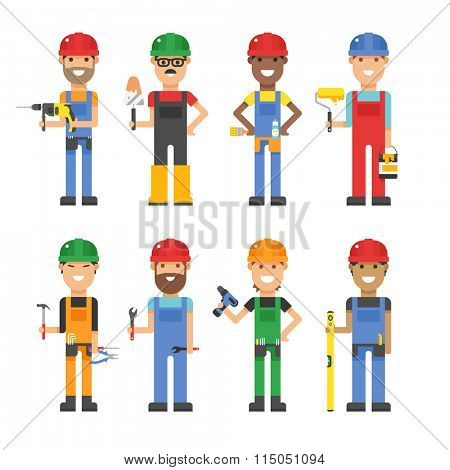 Cartoon workers and other tools under construction vector illustration. Vector cartoon flat people under construction isolated on white background