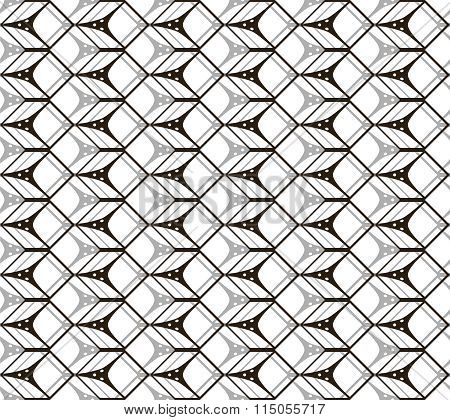 Seamless Black And White Pattern Of Cubic Forms