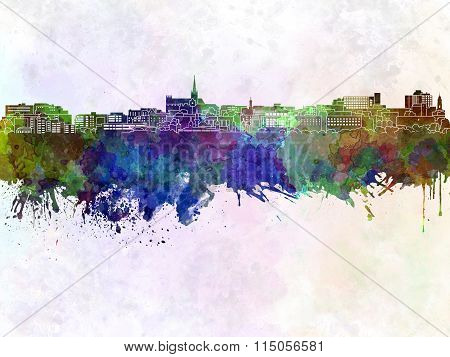 Geelong Skyline In Watercolor Background