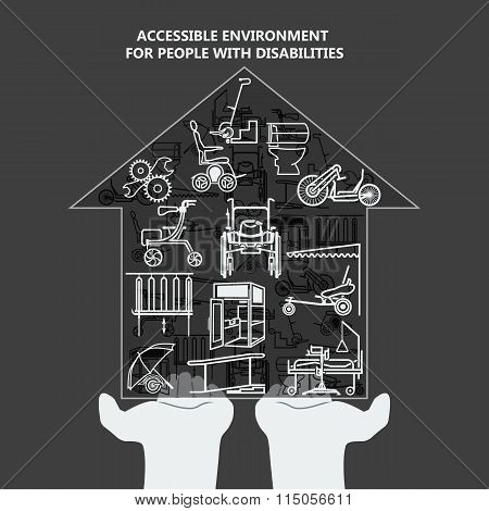The Concept Of Accessible Environment For People With Disabilities. House With Icons On The Palms.