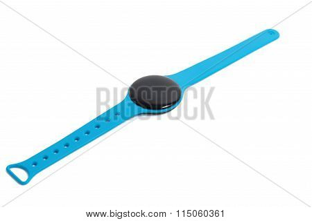 Blue Smart Watch Close Up Isolated On White Background